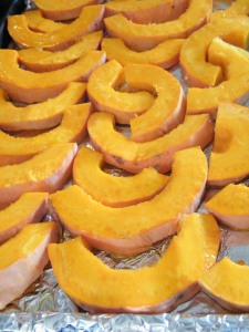 sliced pink banana squash